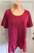 LOFT, Size Large, Lightweight, Short Sleeve, Cotton Knit Top w/Poly Ruffle.  NEW