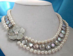 3 Rows Genuine Wite Black Button Coin Pearl Shell Flower Clasp Necklace PN1445