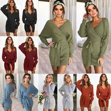 Sexy Women Warm Knitted Sweater Dress Long Sleeve V-Neck Pullovers Mini Dress