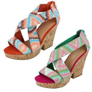 SALE Ladies Spot On High Heel Casual Summer Sandals - F10029