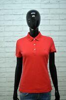 Maglia Donna TOMMY HILFIGER Taglia S Blusa Manica Corta Shirt Rossa Jersey Polo