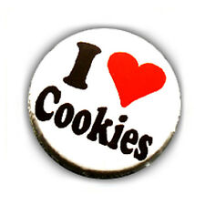 Badge I ♥ LOVE COOKIES coeur heart gourmandise yummy pop culte pin button Ø25mm