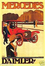 Vintage Advertising Poster - 'Mercedes' Car/ Daimler /Art Deco
