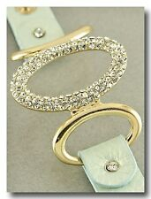 Beautiful Gold and Crystal Sparkle Bracelet on Aqua Shimmer Leather Band