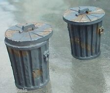 Garbage Cans (2) Weathered 1/24 Scale G Scale Diorama Accessory Items