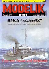 """Modelik  8/03 - Korvette HMCS """"Agassiz"""" - 1:100"""