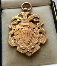 Super Quality Antique Edwardian Solid 9ct Rose Gold Fob Medal Hospital Cup 1910