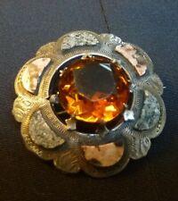 Antique victorian Scottish kilt brooch citrine colored agates sterling silver
