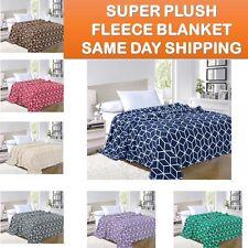 Ultra Super Soft Cube Design Fleece Plush Luxury BLANKET All Sizes - 7 colors!