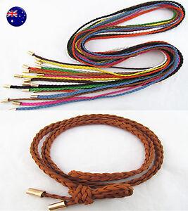 Women Lady Bohemian Boho Long Suede leather braided Tassel Waist Belt Band Tie