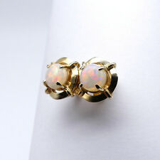 GOLD JEWELLERY, SOLID 10 CARAT GOLD EARINGS WITH SOLID WHITE OPAL 8697