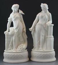Pair 19th Century Parian Neo Classical Female Bisque Allegorical Sculptures