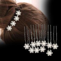 10pcs Bridal Hair Pin Rhinestone Pearl Diamante Flower Design Clips Grip Wedding