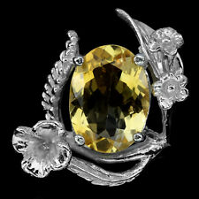 Jumbo Ring Citrin 925 Silber 585 Weißgold vergoldet Gr. 54