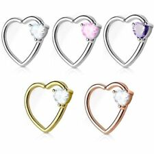 Tragus Barbell Studs CZ Paved Heart with Wings 316L Surgical Steel WildKlass Cartilage