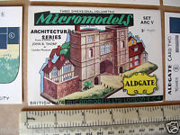1950s Micromodels ARC V (5) Aldgate 3/-  Gates of Old London. Cut-out Card Kit