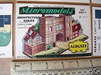 1950s Micromodels ARC V (5) Aldgate 3/-  Gates of Old London. Cut-out Card Kit