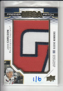 19/20 UD PREMIER JOHN CARLSON MEGA SLEEVE NUMBERS GAME JERSEY PATCH 1/6 3CL