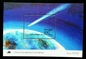 [SJ] Portugal Halley's Comet 1986 Space Astronomy Planet Earth (ms) MNH