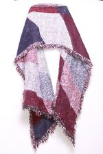 Maroon Blue & White Chunky Thick Incredibly Warm Outerwear Women's Scarf (S130)