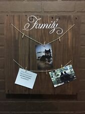 Family Picture Photo Hanger Distressed Rustic Reclaimed Pallet Wood Sign