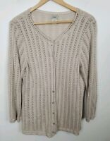 (#38) L.L. Bean Women's Size XL Beige Cardigan Sweater Crochet Button Light