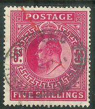 Great Britain 1902 deep-bright-carmine 5/- very fine used  SG264