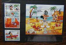 Grenada Grenadines 1985 Birth Mark Twain Walt Disney set & Miniature Sheet Used