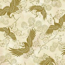 "Golden Cranes  -  Ivory Asian Japanese ""Celebration"" Quilt Fabric (1/2 Yd)"