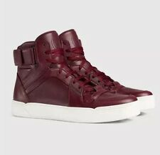 Gucci 386738 Mens Leather Burgandy High-top Basketball Sneaker 7644 Size 9.5 G