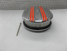 BILLET ALUMINUM 12'' X 2'' CHEVY ORANGE CENTER FINN  AIR CLEANER CR#X065