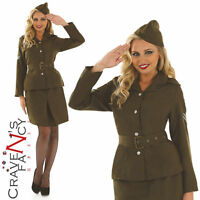 Ladies 40s WW2 Army Girl Costume Soldier Uniform Womens Fancy Dress Outfit 8-26