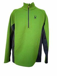 SPYDER core sweater 1/4 ZIP UP  PULLOVER Large Waffle Knit Fleece green/Black.