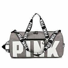Pink Waterproof Nylon Grey Travel Duffle Bag