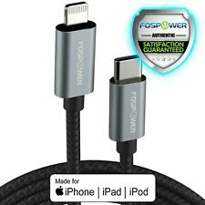 Fospower 2x 10FT [Apple MFi Cert] C Lightning a USB cable de carga rápida sincronización de datos