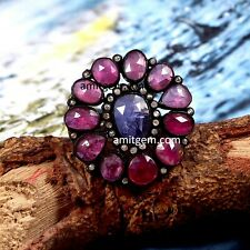 Victorian 925 Sterling Silver Red Ruby Tanzanite  Natural Diamond Ring R-443