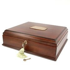 New Antique Looking Wood Jewelry Box Treasure Chest  memory Box key and lock