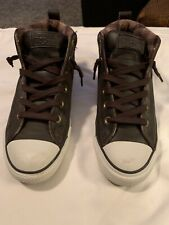 Converse Chuck Taylor All Star High Top Brown Leather Sneakers Unisex Sz M8 W10