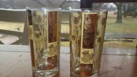 Vintage Gold Wheat tumblers 4 13 ounce flat bottom gold glasses Golden Wheat
