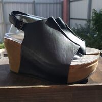 Womens Platform Wedge Heel Black Vegan Leather Adjustable Buckle Pierre Dumas