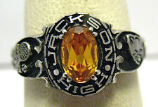 SILVER JACKSON HIGH SCHOOL RING SIZE 5.75 GOLD STONE 1989 SYBOLL