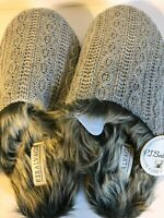 New P.J Salvage Cable Furry Gray Slippers Woman's Medium/Large