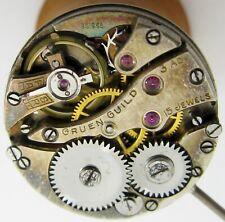 early Gruen round watch movement 15 j. 3 adj. for parts, diameter 22.4 mm