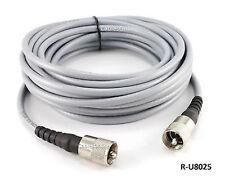 25ft RG-8/U Mini Coax UHF PL-259 Male/Male Grey Antenna Cable, R-U8025