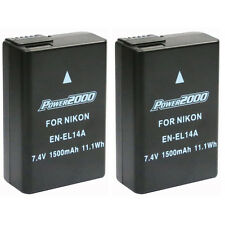 2 Pcs Power2000 EN-EL14 Battery for Nikon D3100 D3200 D3300 D5200 D5300 D5500