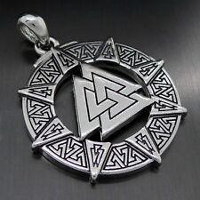 Valknut Odin's Symbol of Norse Viking Warriors Pewter Pendant Free Necklace P301