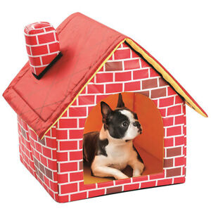 Portable Cat Puppy Home Red Brick Pet Dog House Warm And Cozy Cat dog Bed