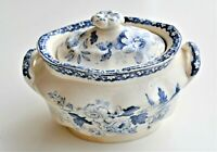 Antique Blue Sugar Box and Cover Floral Pattern Blue Transfer Ware c.1825-1850