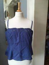 Wallis Petite Blue Linen Vest Top UK Petite 18