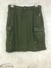 Coldwater Creek Women's Army Green Skirt Above Knee Cargo Pockets Size 8 #Z3